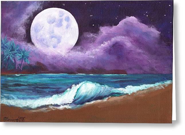 Moonrise Greeting Cards - Kauai Moonrise at the Beach Greeting Card by Marionette Taboniar