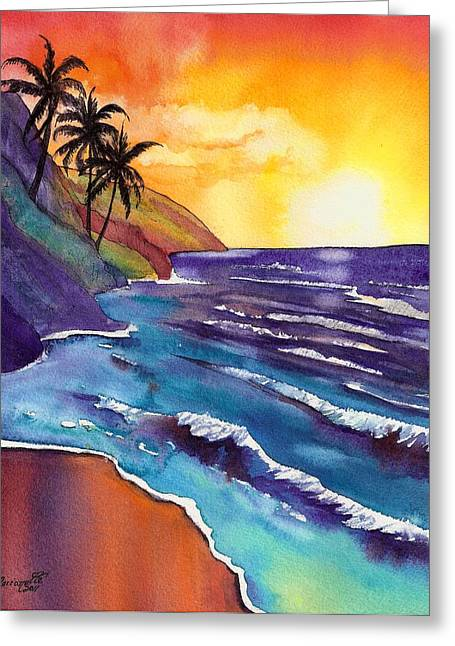 North Shore Paintings Greeting Cards - Kauai Na Pali Sunset Greeting Card by Marionette Taboniar