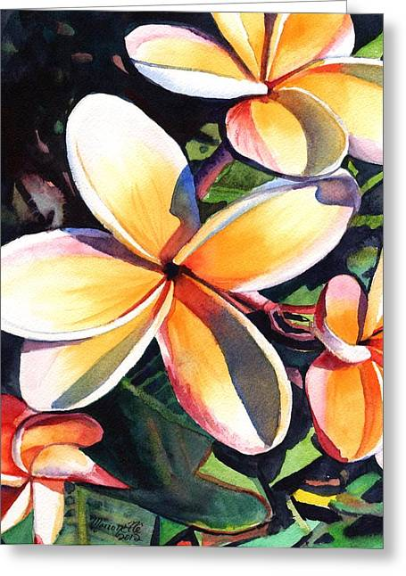 Lei Greeting Cards - Kauai Rainbow Plumeria Greeting Card by Marionette Taboniar