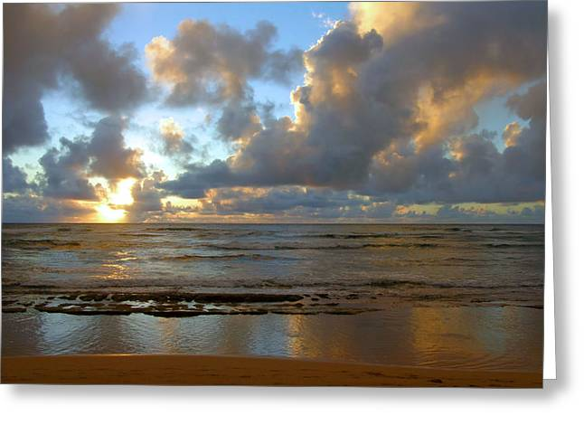 Lamdscape Greeting Cards - Kauai Sunrise Reflections Greeting Card by Stephen  Vecchiotti