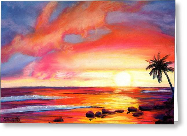Hawaiian Pond Greeting Cards - Kauai West Side Sunset Greeting Card by Marionette Taboniar