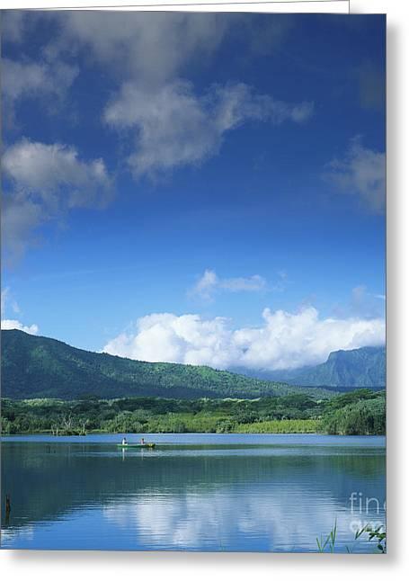 Glassy Lake Surface Greeting Cards - Kauaihai Ridge Greeting Card by Kate Turning & Tom Gibson - Printscapes