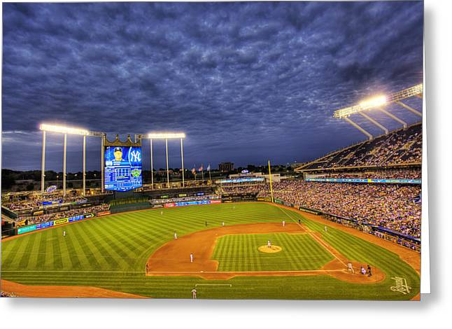 Kansas City Photographs Greeting Cards - Kauffman Stadium Twilight Greeting Card by Shawn Everhart