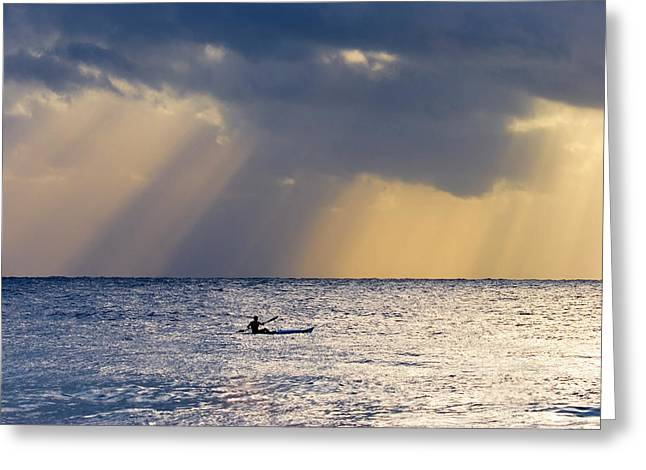 Crepuscular Rays Greeting Cards - Kayak At Dawn Greeting Card by Mike  Dawson