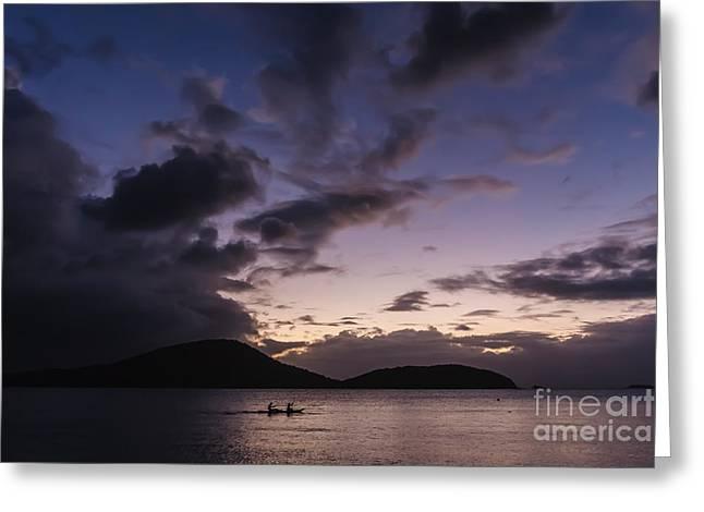 Culebra Greeting Cards - Kayak at sunset Greeting Card by Ernesto Ruiz
