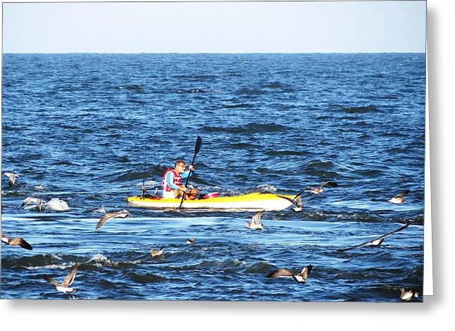 Boats In Water Greeting Cards - Kayak Fisherman On The Delaware Bay Greeting Card by Thom Fontannaz