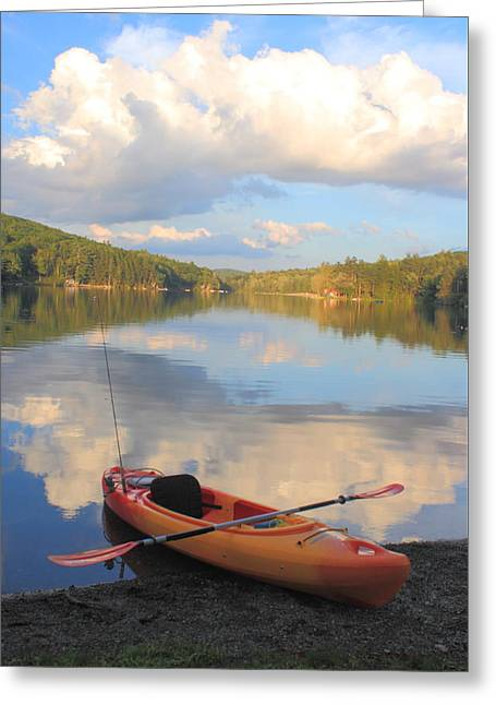 Kayak Greeting Cards - Kayak on Lake Greeting Card by John Burk