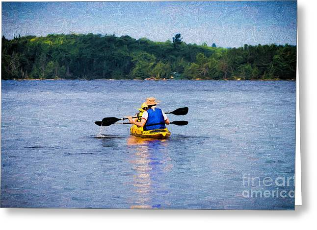 Canoe Greeting Cards - Kayak Paddling in Algonquin Park Greeting Card by Les Palenik