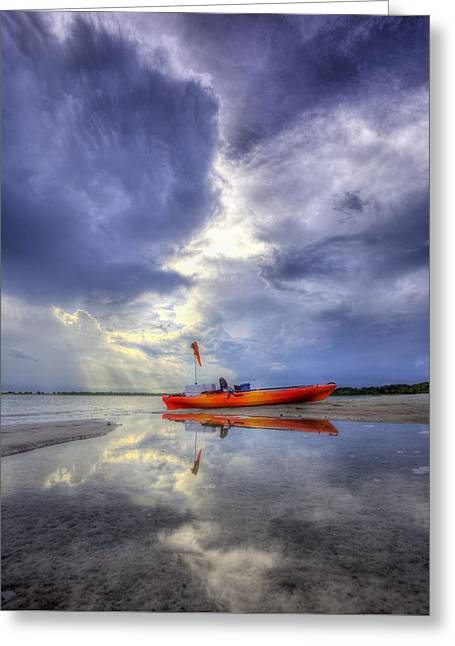 Panama City Greeting Cards - Kayak Panama City Beach Greeting Card by JC Findley