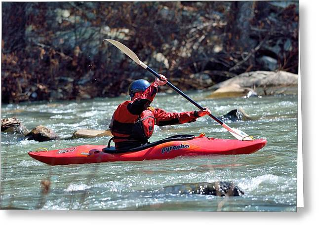 Trout Stream Landscape Greeting Cards - Kayak Greeting Card by Todd Hostetter