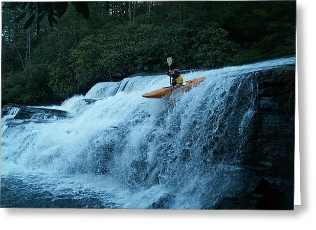 Kayak Triple Falls Greeting Card by Steven Sloan