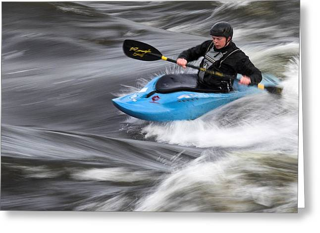 Kayak Greeting Cards - Kayaker riding the flow of the Shannon river Limerick Ireland Greeting Card by Pierre Leclerc Photography