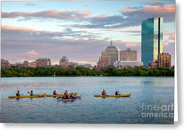 Charles River Greeting Cards - Kayaking on the Charles Greeting Card by Susan Cole Kelly