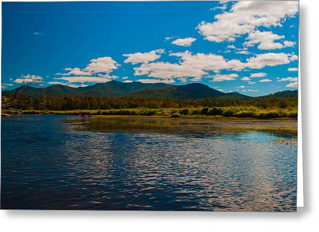 Blue Green Water Greeting Cards - Kayaking The Saranac River in New York Greeting Card by Linda  Howes