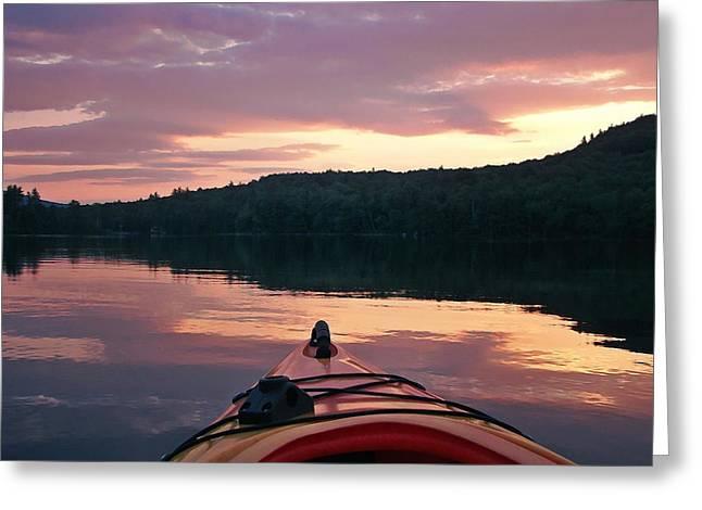 Kayaking Under A Gorgeous Sundown Sky On Concord Pond Greeting Card by Joy Nichols