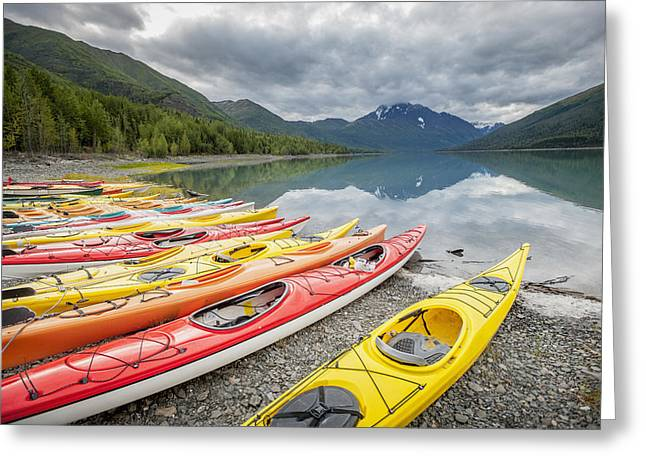 Reflection In Water Greeting Cards - Kayaks In A Row On Shore At Eklutna Greeting Card by Remsberg Inc