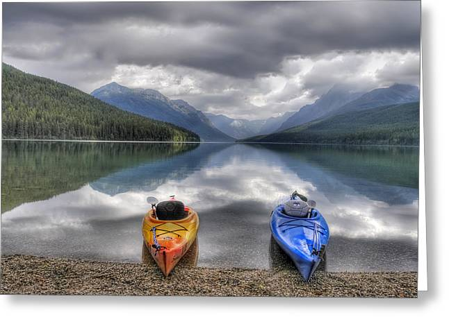 Kayaking Greeting Cards - Kayaks on Bowman Lake Greeting Card by Donna Caplinger