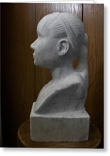 Marble Sculptures Greeting Cards - Kaylee Greeting Card by William Coeur de ville