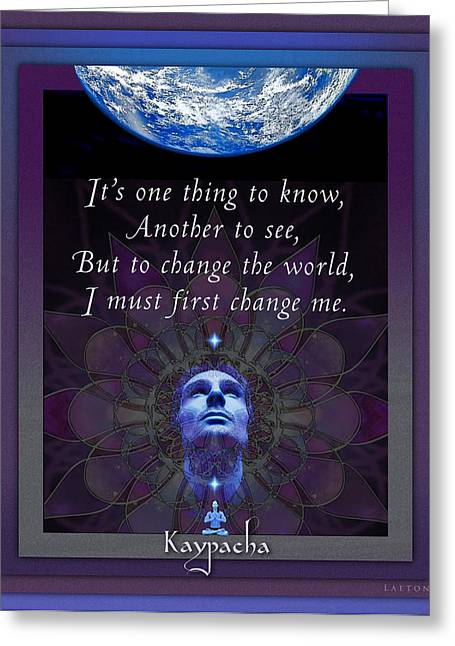 Transformation Of Being Greeting Cards - Kaypachas Mantra 4.7.2015 Greeting Card by Richard Laeton