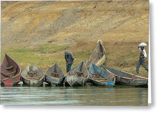 Kazinga Fishing Village On The Kazinga Channel In Queen Elizabet Greeting Card by Travel Quest Photography