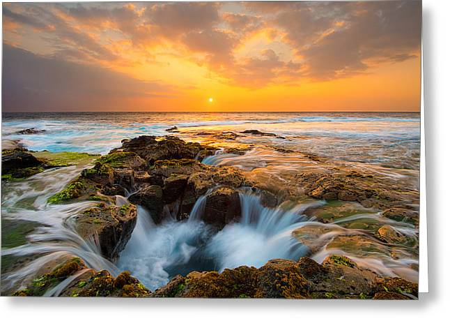 Sinkhole Greeting Cards - Keahole Point Sunset Greeting Card by Patrick Campbell