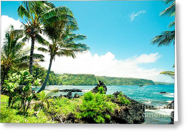 Keanae Waialohe Maui Hawaii Greeting Card by Sharon Mau