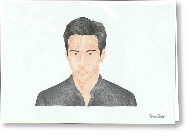 Lake House Drawings Greeting Cards - Keanu Reeves Greeting Card by Toni Jaso