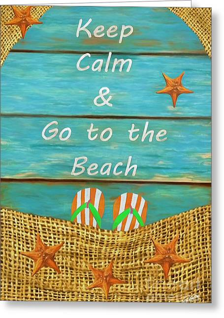 Sea Shell Digital Paintings Greeting Cards - Keep Calm and Go to the Beach Greeting Card by AnaCB Studio