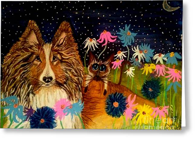 Fanatic Paintings Greeting Cards - Keep Me Safe Ms Lily Greeting Card by Mary Sisson