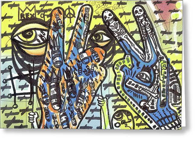 Raw Contemporary Graffiti Greeting Cards - Keep Pushing 4 Peace Greeting Card by Robert Wolverton Jr