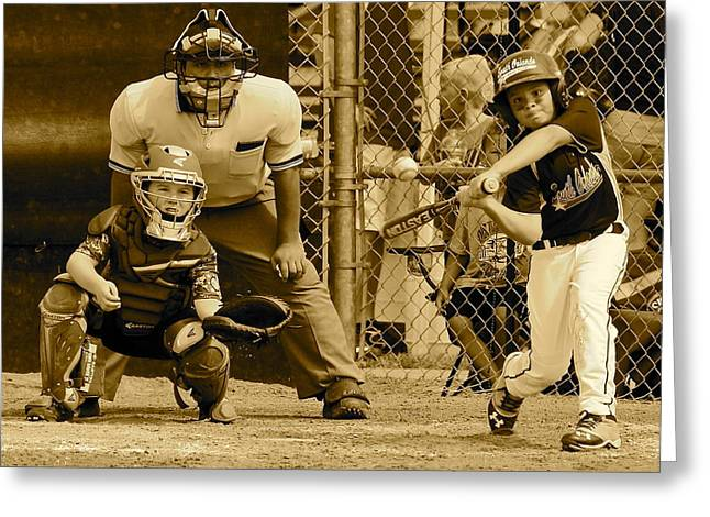 Baseball Uniform Greeting Cards - Keep Your Eye On The Ball 2 Greeting Card by Denise Mazzocco
