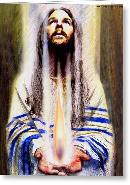 Prayer Shawl Greeting Cards - Keeper Of The Flame Greeting Card by Linda Harris-Iorio