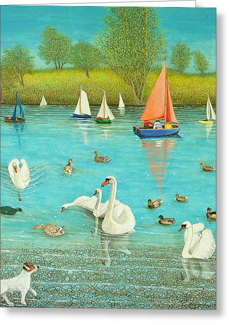 Sailboat Art Greeting Cards - Keeping a Watchful Eye Greeting Card by Pat Scott