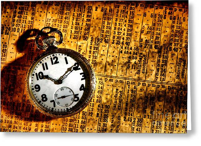 Bygone Greeting Cards - Keeping the Railroad on Time Greeting Card by Olivier Le Queinec