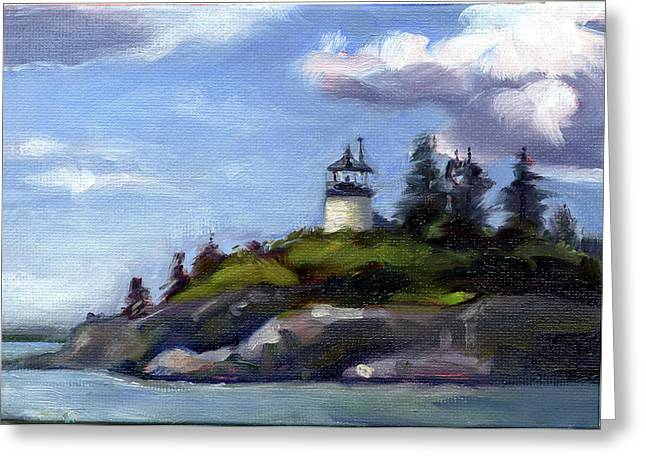 Maine Lighthouses Paintings Greeting Cards - Keeping Watch Greeting Card by Todd Baxter