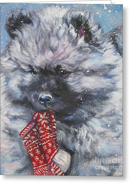 Xmas Dog Greeting Cards - Keeshond Puppy with Christmas stocking Greeting Card by L A Shepard