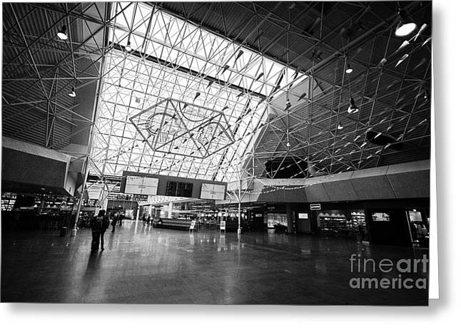 Airport Terminal Greeting Cards - Keflavik airport departures area terminal building Iceland Greeting Card by Joe Fox