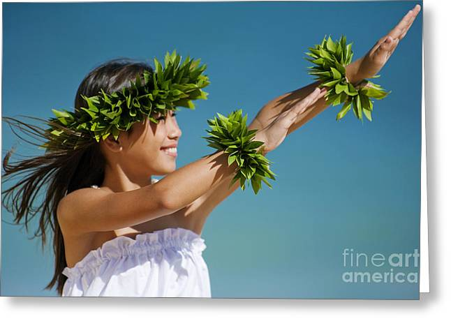 Aloha From Hawaii Greeting Cards - Keiki Hula Greeting Card by Ron Dahlquist - Printscapes