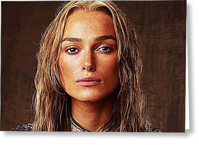 British Celebrities Greeting Cards - Keira Knightley Greeting Card by Queso Espinosa