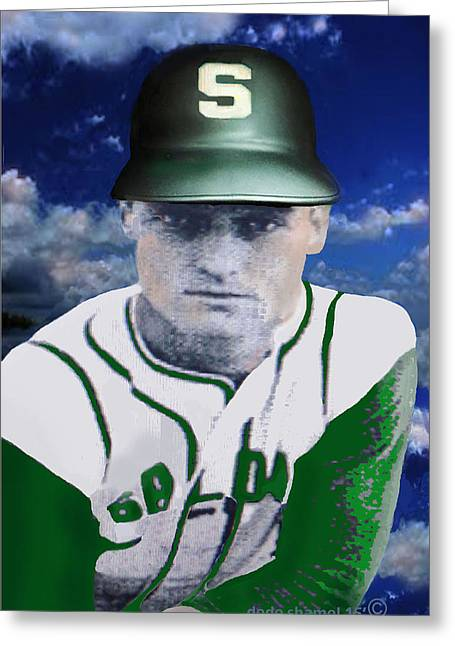 Baseball Uniform Digital Art Greeting Cards - Keith Lister Salome Baseball Greeting Card by Dede Shamel Davalos