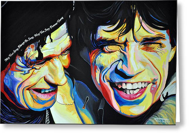 Keith Richards Paintings Greeting Cards - Keith Richards and Mick Jagger Greeting Card by Ton Peelen