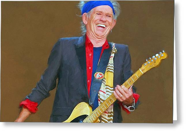 Keith Richards Paintings Greeting Cards - Keith Richards II Greeting Card by Nikola Durdevic