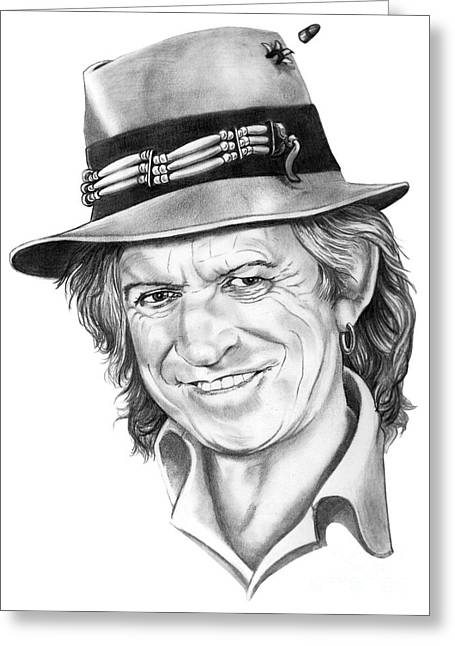 Rolling Stones Greeting Cards - Keith Richards Greeting Card by Murphy Elliott