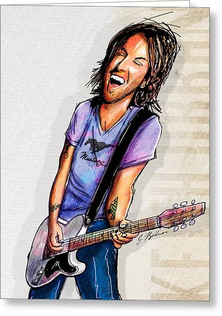 Music Cartoon Greeting Cards - Keith Urban II Greeting Card by Gary Bodnar