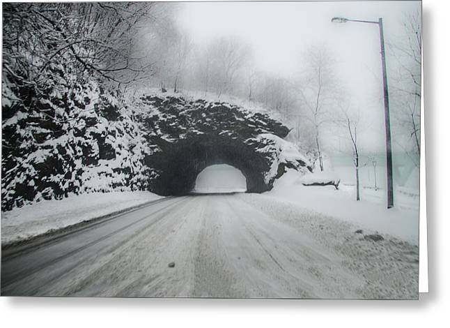 Kelly Drive Rock Tunnel In The Snow Greeting Card by Bill Cannon