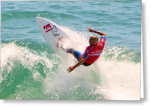 Kelly Slater Greeting Cards - Kelly Slater US Open of Surfing 2012     3 Greeting Card by Jason Waugh