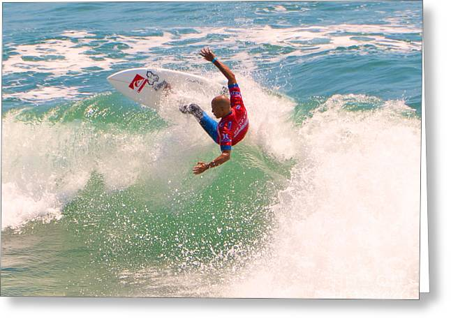 Kelly Slater Greeting Cards - Kelly Slater  US Open of Surfing 2012     7 Greeting Card by Jason Waugh