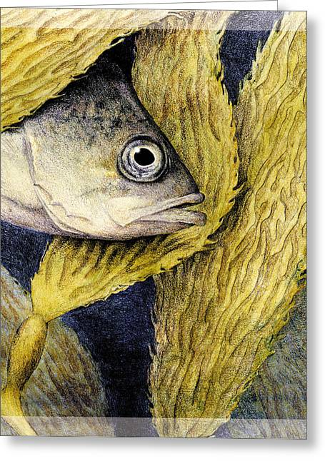 Algae Mixed Media Greeting Cards - Kelp Hangout Greeting Card by Kirsten Carlson