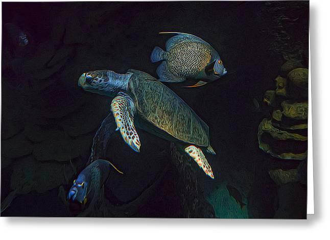 Aquarium Fish Greeting Cards - Kemps Sea Turtle  Greeting Card by Janet Fikar