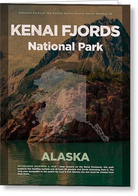 Kenai Fjords National Park In Alaska Travel Poster Series Of National Parks Number 35 Greeting Card by Design Turnpike